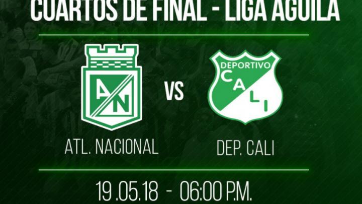Atlético Nacional vs Deportivo Cali por un cupo a las Semifinales
