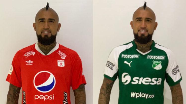 Artuto Vidal con las camisetas del América y del Deportivo Cali de Colombia